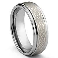 6mm Men's or Ladies Tungsten Carbide Ring Wedding Band with Laser Engraved Celtic Knot Design