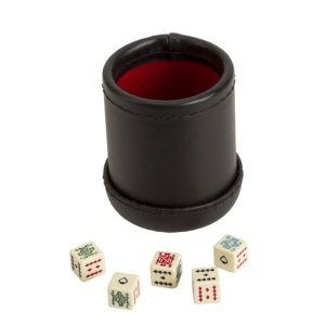 Deluxe Leather Like Dice Cup with 5 Poker Dice - Black/Cream Color