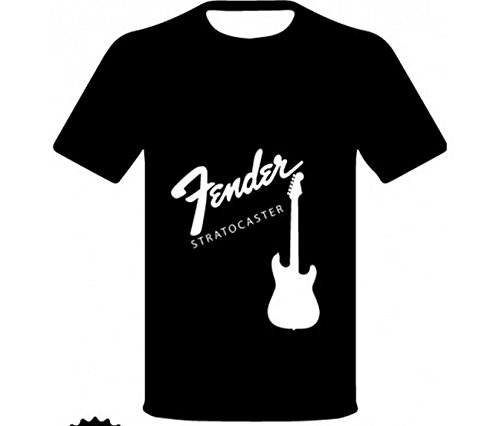 """Monkey Design - T-Shirt Con Logo E Disegno """"Fender Stratocaster - Chitarra"""", Colore: nera, Taglia: XL"""