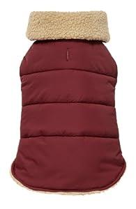 Fab Dog Americana Classics Shearling Fleece Lined Dog Jacket, Burgundy, 16