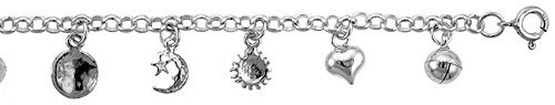 Sterling Silver Charm Bracelet w/ Hearts , Star and Crescent Moon