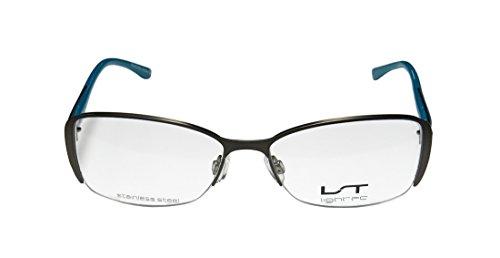 Lightec 7036l Mens/Womens Prescription Ready Designer Half-rim Flexible Hinges Eyeglasses/Eyeglass Frame (53-16-135, Gray / Blue)