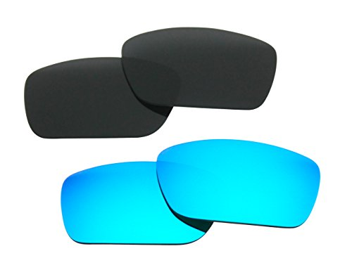 2 Pairs Polarized Replacement Sunglasses Lenses for Oakley Fuel Cell with UV Protection(Black and Ice Blue Mirror) (Fuel Sunglasses compare prices)