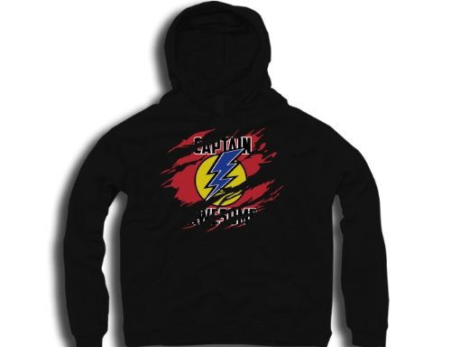 DTG Clothing Super Heroes Captain Awesome Comic Hero Ripped effect under Mens Hoodies - Black - Mens Large