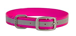 Dublin Dog 11-Inch to 14-Inch KOA Reflective Waterproof Dog Collar, Small, Pink