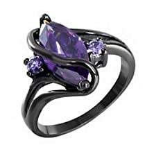 buy Pixel Jewelry 1985 - Purple Marquis Ring Size7 Women'S 10Kt Black Gold Filled Engagement Wedding