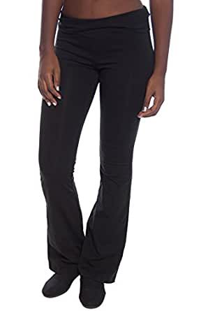 2 Pack Popular Basic Women's Fold Down Waist Yoga Pants Small Black, Black