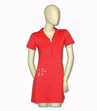 Titania Golf Ladies Moisture Wicking Golf Dress in Coral with Rhinestone Pattern by Titania Golf