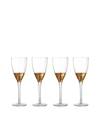 Jay Imports Set of 4 Daphne Gold Wine Glass, Clear/Gold, 11.8-Oz.