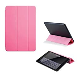 iFlash® Magnetic Hard Smart Front Cover for iPad Mini 1/2 (2012/2013/2014) in Retail Package -- Pink Color