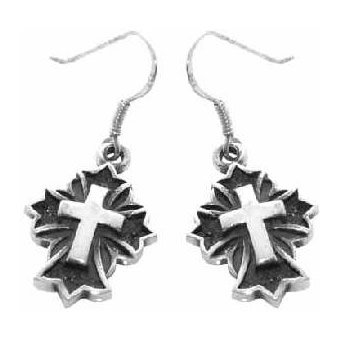 Christian Women's Sterling Silver Raised Christian Cross Dangle Earrings - Purity, Chastity Earrings for Girls