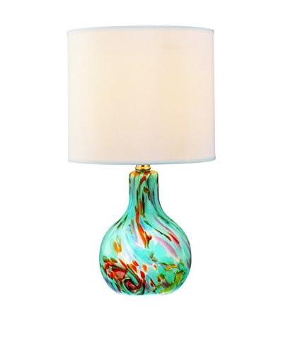 Lite Source Pepita 1-Light Table Lamp, Marbleized Aqua/Off-White