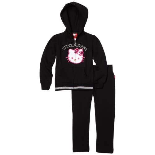 Hello Kitty Little Girls Fashionable Fleece Active Wear Set With Velour Applique, Anthracite, 2T