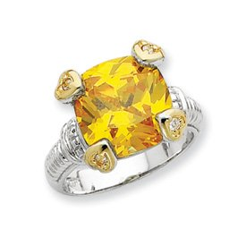 Sterling Silver Vermeil Yellow and Clear CZ Ring - Size P 1/2 - JewelryWeb