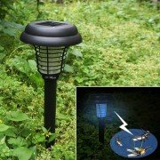 New Solar Power UV Garden Yard LED Lamp Light Bug Zapper Pest Insect Mosquito Killer