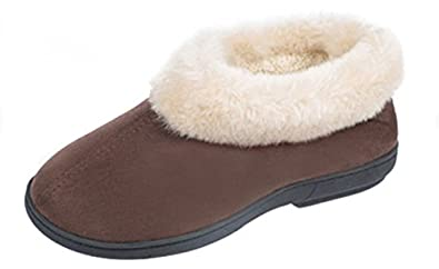 Coolers Womens Slip on Classic Slippers Microsuede & Fluffy Lined UK 4 Brown