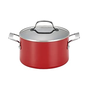 Circulon Genesis Aluminum Nonstick 4.5-Quart Covered Dutch Oven, Red