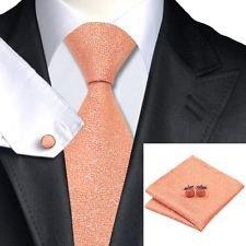 [Dan Smatree Mens Orange Tie Hanky Cufflink Set For Groom and Best Man Classic Width] (Best 50s Costumes)