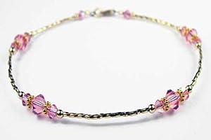 Damali 14k Gold Filled Anklets Pink Opal - October Swarovski Crystal Ankle Bracelets by GemstoneGifts Handmade Jewelry