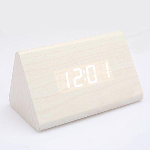 Anten - Sveglia digitale a LED, in legno con luce blu, indica orario, temperatura, umidità, data, colore: nero