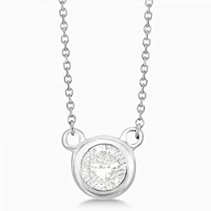 Allurez Women's Simple Diamond Solitaire Bezel Pendant In 14K (0.50 Carats) White Gold