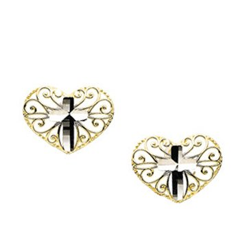14K Yellow White Gold Heart Cross Earrings