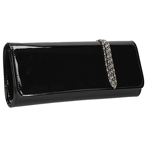 Jasmine Patent Flapover Evening Prom Party Bridal Clutch Bag -- SWANKYSWANS