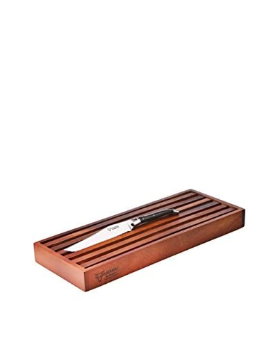 Laguiole en Aubrac Cutting Board Set with Bread Knife, Buffalo Horn