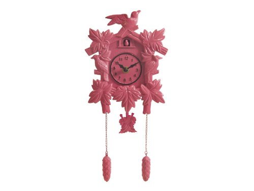 Silly Wall Clock Cuckoo, Plastic, Pink