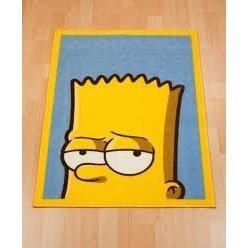 Childrens/Kids Boys Bart Simpson Bedroom Floor Rug/Mat (26 X 35 Inches ) (Yellow/Blue)