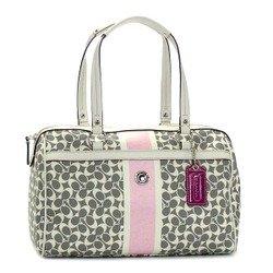 Coach Mini Signature Satchel Grey White Pink Handbag Coach 15132