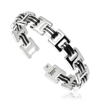 Stainless Steel Mens Bracelet Double Rubber Stripe Links