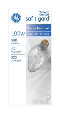 Ge 44540 Saf-t-gard Outdoor Post Light Bulb, 100 Watts, 120 Volt (Pack of 6) (Lightbulb 120v 100w compare prices)