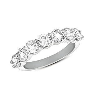 14k 2.10 Dwt Diamond White Gold Prong Band Ring - JewelryWeb