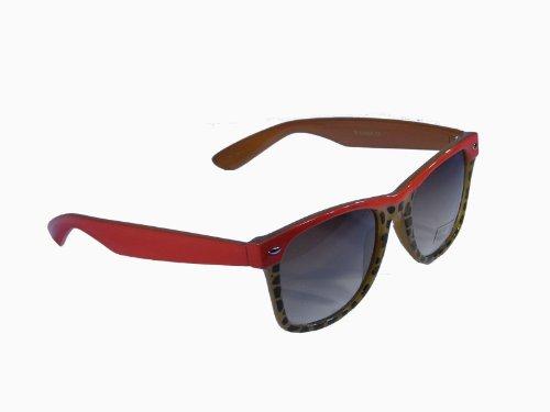 Sonnenbrille im 'Wayfarer Style' mit Tiermuster * zweifarbiger Rahmen * Bügel im Animal Look, Fb.:rot