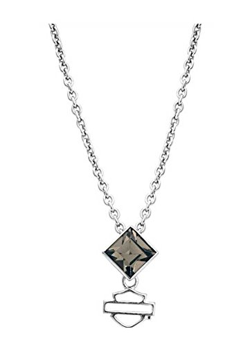 Harley-Davidson Womens Necklace, Black Ice Diamond Shape Crystal Pendent HDN0311