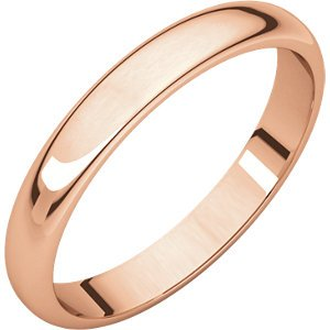 14 K Rose 3mm Half Round Band ,Size- 6