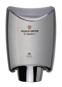 World Dryer K-973 Smartdri Brushed Stainless Steel Hand Dryer, High Speed, Electric, 110-120 Volt, Cool Or Warm Air Option, Energy Efficient, Fast 10-15 Second Dry Time, Eliminates Up To 99% Of Paper Towel Cost front-4075