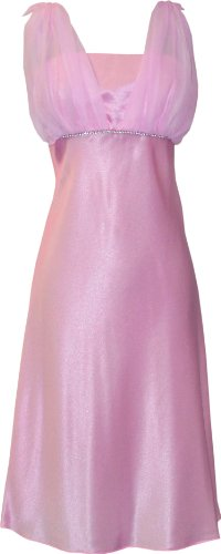 Satin Chiffon Prom Dress Holiday Formal Gown Bridesmaid Crystals Knee-Length Junior Plus Size, 5X, Pink