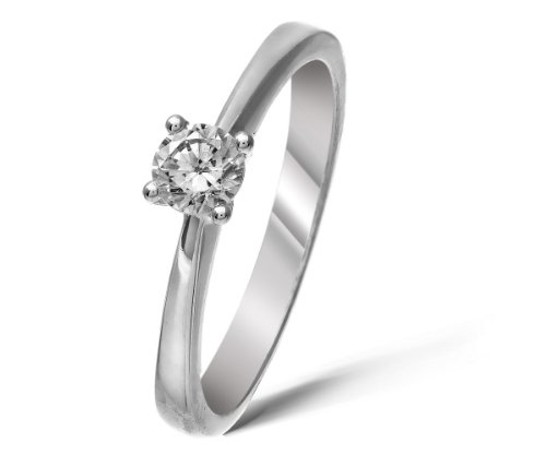 Hollywood 18 ct White Gold Ladies Solitaire Engagement Ring Size L