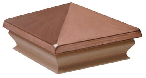 Woodway Products 870.1384 4-by-4-Inch Large Cedar Pyramid Post Cap, 12-Pack, Cedar/Copper
