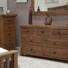 Rustic Style Oak 7 Drawer Multi Chest
