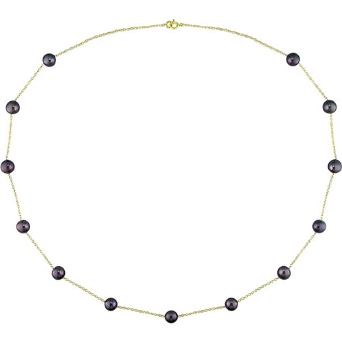 10k Gold Black FW Pearl Necklace (5.5-6mm)