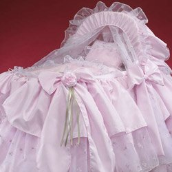 Pretty in Pink Bassinet Liner/Skirt and Hood - Size: 16x32