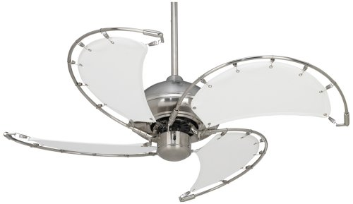40″ Aerial Brushed Nickel White Blades Ceiling Fan