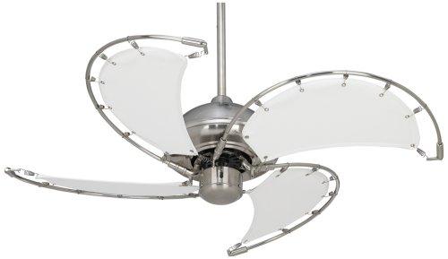 40″ Aerial Brushed Nickel White Blades Ceiling Fan