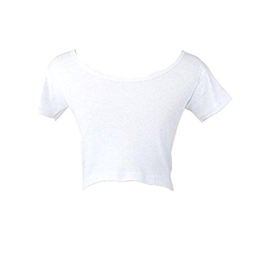 Fortan Maniche corte estate donne sexy di base T-Top corta T-shirt camicetta (Bianca)