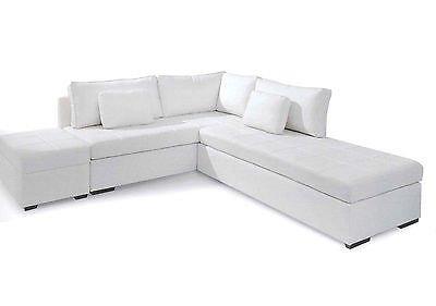 Divano angolare letto eco pelle bianco nero moderno salotto prodotto italiano prezzi - Divano angolare bianco ...