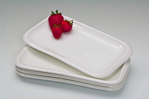 """'4X rectangulaire plat/Assiette sushi en porcelaine avec coins arrondis Frame """", Porcelaine, blanc, 4 Stk."""