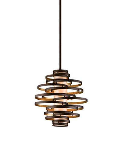 Truesdale Anderson Collection 2-Light 26.5 Pendant, Bronze/Gold Leaf/Caramel Ice